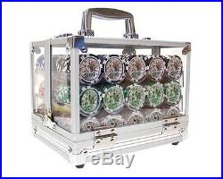 New 600 Ben Franklin 14g Clay Poker Chips Set with Acrylic Case Pick Chips