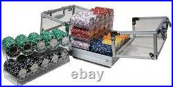 New 600 Coin Inlay 15g Clay Poker Chips Set with Acrylic Case Pick Chips