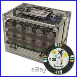 New 600 Desert Heat 13.5g Clay Poker Chips Set with Acrylic Case Pick Chips