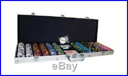 New 600 Kings Casino 14g Clay Poker Chips Set with Aluminum Case Pick Chips