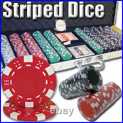 New 600 Striped Dice 11.5g Clay Poker Chips Set with Aluminum Case Pick Chips