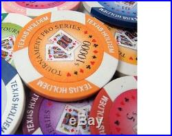 New 600 Tournament Pro 11.5g Clay Poker Chips Set with Acrylic Case Pick Chips