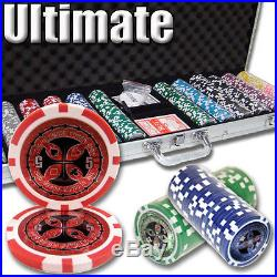 New 600 Ultimate 14g Clay Poker Chips Set with Aluminum Case Pick Chips