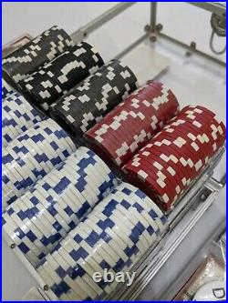 New 600 Vegas 12g Clay Poker Chips Set with Acrylic Case Mostly Sealed