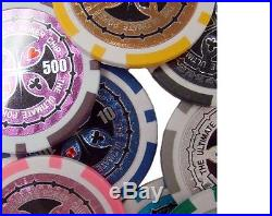 New 750 Ultimate 14g Clay Poker Chips Set with Aluminum Case Pick Chips