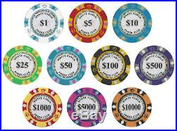 New Bulk Lot of 750 Monte Carlo 14g Clay Poker Chips Pick Denominations