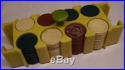 Nice Looking Old CATALIN/BAKELITE Poker Chip Rack full of Clay Poker Chips
