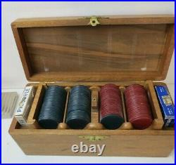 Nice Vintage Mahogany Wood Box & Trays Antique Clay Poker Chips Gaming Set