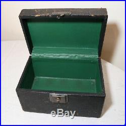 Quality antique clay chip leather wrapped wood box poker gambling box card set