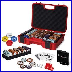 RUNIC Exclusive Poker Set 300 pcs, 14 Gram Clay Poker Chips for Texas Holdem, a