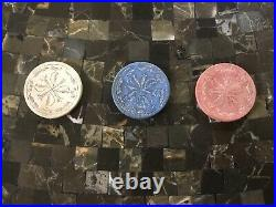 Red, Blue &White Antique Poker Chips- Cross Leaf Clay Vintage Old Gambling Game