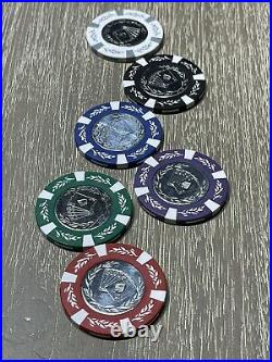Royal Flush Metal Stamped Engraved Coin Inlay Quality 14g Clay Poker Chips Set