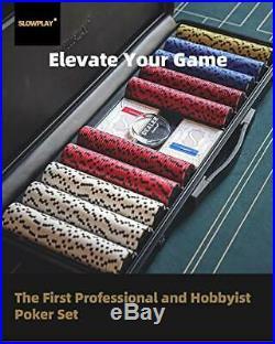 SLOWPLAY Nash 14 Gram Clay Poker Chips Set for Texas Holdem, 300 PCS/500 500