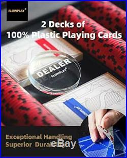 SLOWPLAY Nash 14 Gram Clay Poker Chips Set for Texas Holdem, 300 PCS/500PCS, Bl