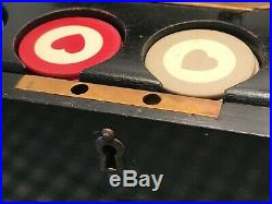 STAY AT HOME VINTAGE CLAY POKER CHIP SET LOCKING BOX WithBRASS HARDWARE & KEY