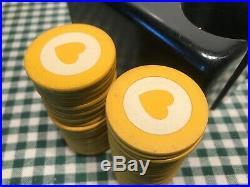 TEXAS HOLD'EM CLAY CHIP SET GAMBLING POKER LOCKING BOX WithBRASS HARDWARE & KEY