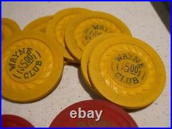 VINTAGE 700 700 Clay poker chips ILLEGAL MAUMEE CLUB WAYNE CLUB OHIO