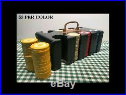 VINTAGE CLAY POKER CHIP SET IN WOODEN LOCKING BOX WithBRASS HARDWARE & KEY