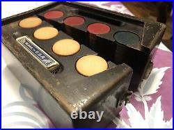 VTG SET AMAZING Wooden Box CLAY POKER CHIPS & ANTIQUE CASE RARE