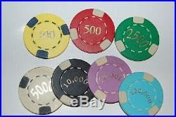 Very Nice high Quality Casino like Edge Spot Clay Poker Chip Home Set 694 chips