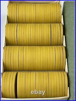 Vintage 100 Clay Poker Chips Yellow Grecian Design Greek Motif Pattern