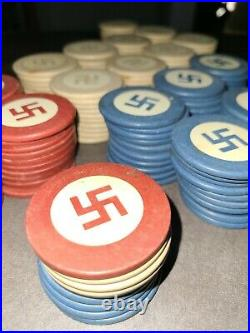 Vintage 1930's Clay Swastika Poker Chips