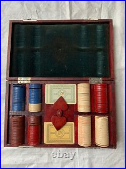 Vintage 1930s Clay Poker Chip Set in Wooden Box with Cards and Sterling Monogram