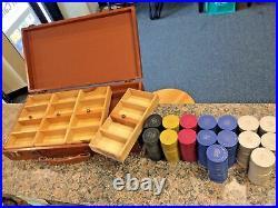 Vintage 1950's Clay Poker Chip Set 5 Denominations 400 AV Chips in Original