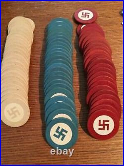 Vintage American Native Clay NOT SWASTIKA Poker Chips MUST READ LETTER FROM EBAY