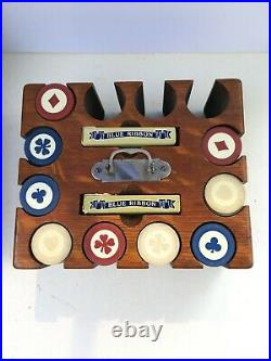Vintage Antique Clay Poker Chips With Box & Wood Caddy Holder