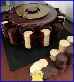 Vintage Bakelit Turnit Poker Chip/ Card Holder With Clay Chips