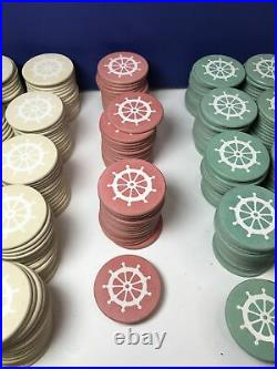 Vintage Captains Wheel Clay Poker Chips (459 Total Chips) 7.1g