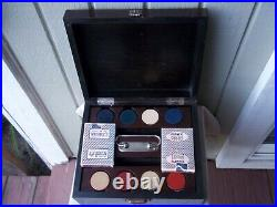 Vintage Casino Poker Case Wood Box WithClay Poker Chips & Cards
