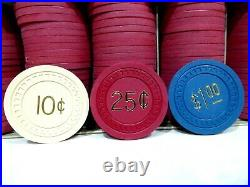 Vintage Clay Poker 200 Chips $1 25 cents 10 cents unused
