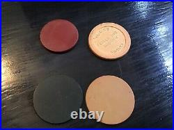 Vintage Clay Poker Chip Set in Locking Wood Box With Walkers Whiskey Chips