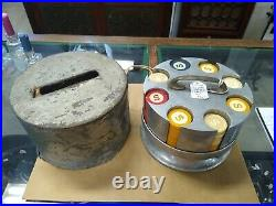 Vintage Clay Poker Chips & Caddy, c. 1930s