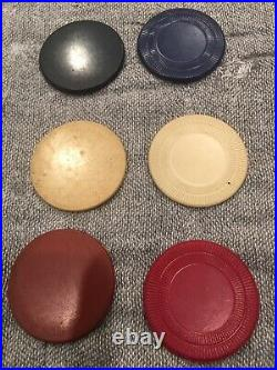 Vintage Clay Poker Chips Gambling set with Wooden Case