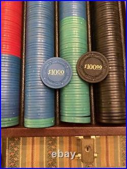 Vintage Clay Poker Chips In Leather Case