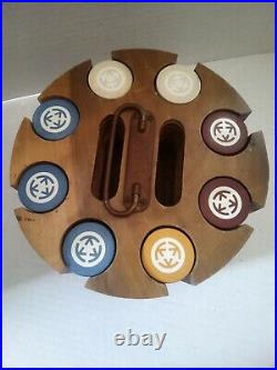 Vintage Clay Rare Poker Chips with Solid Hardwood Caddy 184 Chips