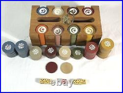 Vintage Clay Rare Poker Chips with Solid Hardwood Caddy, Dice, 280+ Chips Moon