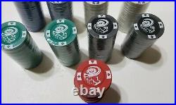 Vintage Clay Roulette Wheel 4 Aces Denominational 180 Poker Chips Playing Cards