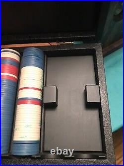 Vintage Kardwell Horsehead Right Clay Poker Chips and Case