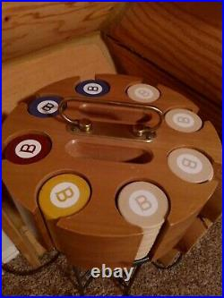 Vintage Two Tone Injected Dot Clay Poker Chips Wooden Case Caddy