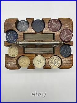 Vintage US Navy Poker Clay Chip Set In Wooden Case Silver Handle Leather