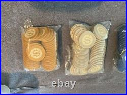 Vintage US Playing Card Co Clay Poker Chip Set With Letter S Monogram PO-AS