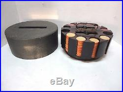 Vintage Wooden Poker Chip Black Covered Holder & 215 Clay Chips Flags & 5-30-36