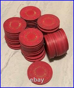 Vtg Eldorado Club Tournament Clay Poker Chips 10g Paulson Top Hat & Cane 158 pcs
